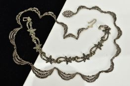 A MARCASITE NECKLACE AND BRACELET, the necklace designed with seventeen openwork marcasite drapped