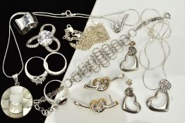 A COLLECTION OF WHITE METAL ASSORTED JEWELLERY ITEMS, to include a mother of pearl pendant, a