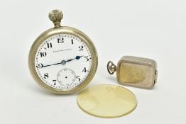 AN OPENFACED MIITARY POCKET WATCH AND PILL BOX, the pocket watch with white dial signed 'Moise