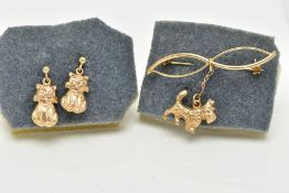 A 9CT GOLD OPENWORK BAR BROOCH AND A PAIR OF YELLOW METAL DROP EARRINGS, the openwork brooch, of a