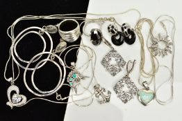 A COLLECTION OF WHITE METAL ASSORTED JEWELLERY ITEMS to include an onyx and marcasite ring, onyx and