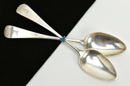TWO SILVER TABLESPOONS, each of a plain polished design, engraved 'Grip Fast' with an engraved