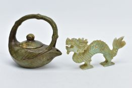 TWO ORIENTAL CARVED HARDSTONE ITEMS, to include a carved teapot with a carved bamboo style handle