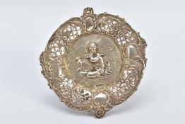A VICTORIAN SILVER DISH, of circular form, openwork floral rim, embossed with a child and bird