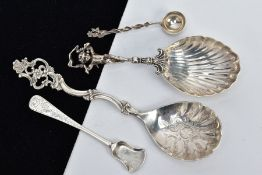 FOUR CONTINENTAL SILVER/WHITE METAL CONDIMENT ITEMS, comprising a caddy spoon with a cherub handle