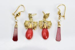 TWO PAIRS OF YELLOW METAL DROP EARRINGS, the first pair each designed with a carved carnelian