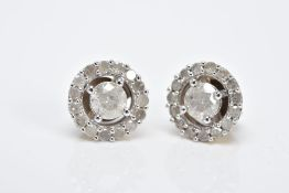 A PAIR OF HALO DIAMOND EARRINGS, each of an openwork circular form, set with a central claw set