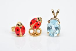 A PAIR OF YELLOW METAL EARRINGS AND A PENDANT, each earring in the form of a ladybird with red and