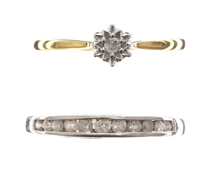Lot 251 - 18CT WHITE GOLD DIAMOND ETERNITY RING AND 9CT GOLD DIAMOND SOLITAIRE RING
