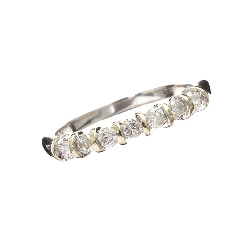 Lot 258 - 9CT WHITE GOLD DIAMOND HALF-ETERNITY RING