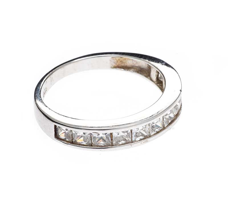 Lot 412 - STERLING SILVER HALF-ETERNITY RING SET WITH CUBIC ZIRCONIA