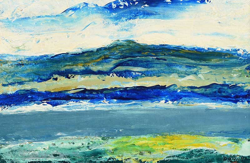 Lot 58 - Daniel O'Neill - LOUGH WITH DISTANT MOUNTAINS - Oil on Board - 6 x 8.5 inches - Signed