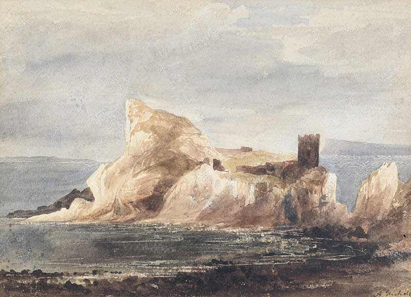 Lot 9 - Andrew Nicholl RHA - KINBANE CASTLE, COUNTY ANTRIM - Watercolout Drawing - 8 x 11 inches - Signed