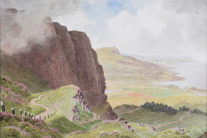 Lot 16 - Joseph William Carey, RUA - CAVEHILL, BELFAST - Watercolour Drawing - 10 x 14 inches - Signed
