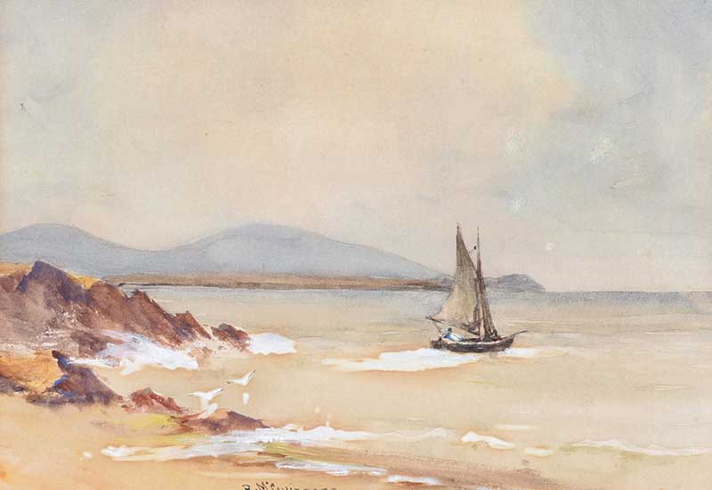 Lot 23 - William Bingham McGuinness RHA - OUT SAILING - Watercolour Drawing - 7 x 10 inches - Signed