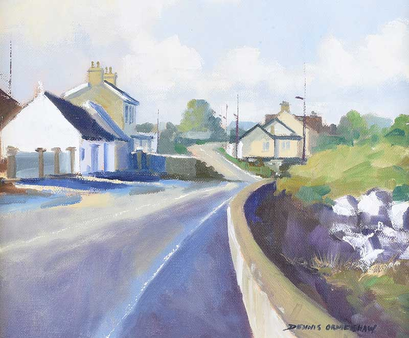 Lot 34 - Dennis Orme Shaw - COUNTY DOWN ROAD - Oil on Canvas - 10 x 12 inches - Signed