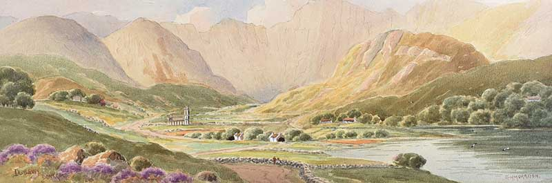 Lot 51 - George W. Morrison - DUNLEWEY, DONEGAL - Watercolour Drawing - 7 x 21 inches - Signed
