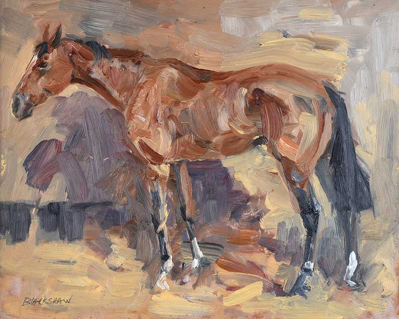 Lot 3 - Basil Blackshaw HRHA HRUA - THE CHASER - Oil on Board - 9 x 12 inches - Signed