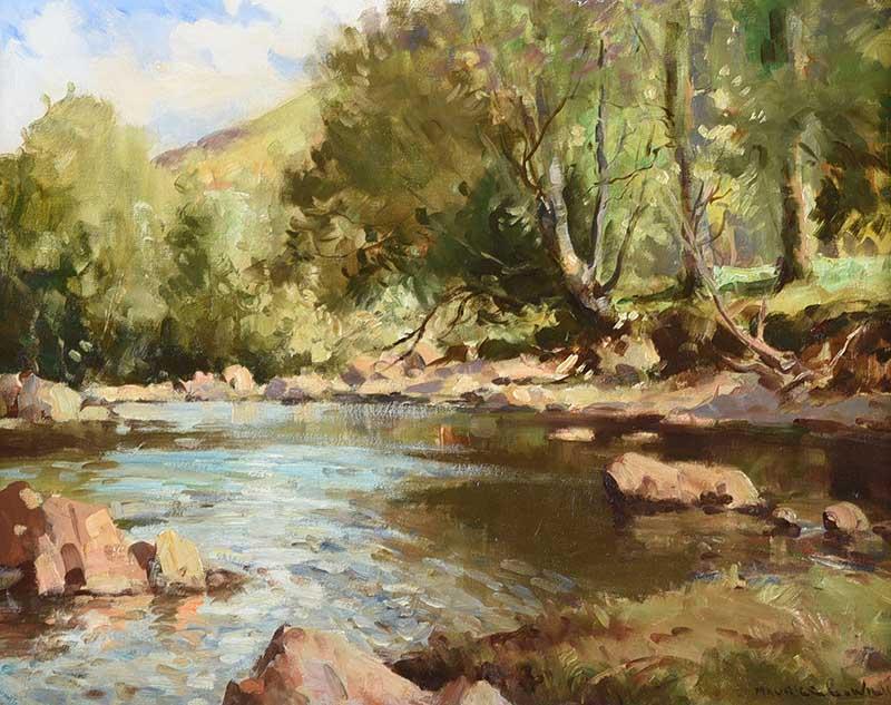 Lot 2 - Maurice Canning Wilks ARHA RUA - THE DUN RIVER, GLENDUN, COUNTY ANTRIM - Oil on Canvas - 16 x 20