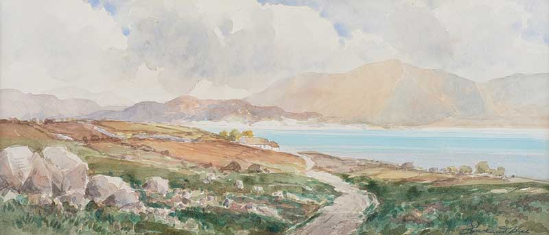 Lot 55 - Rowland Hill, RUA - DUNLEWEY, DONEGAL - Watercolour Drawing - 7 x 15 inches - Signed