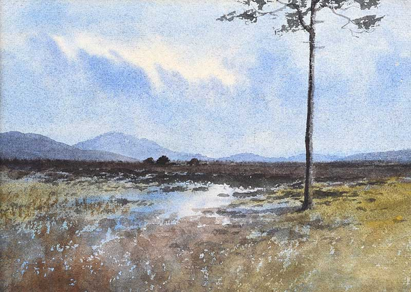 Lot 18 - William Percy French - TREE, TURF STACKS & BOGLANDS, CONNEMARA - Watercolour Drawing - 6.5 x 9