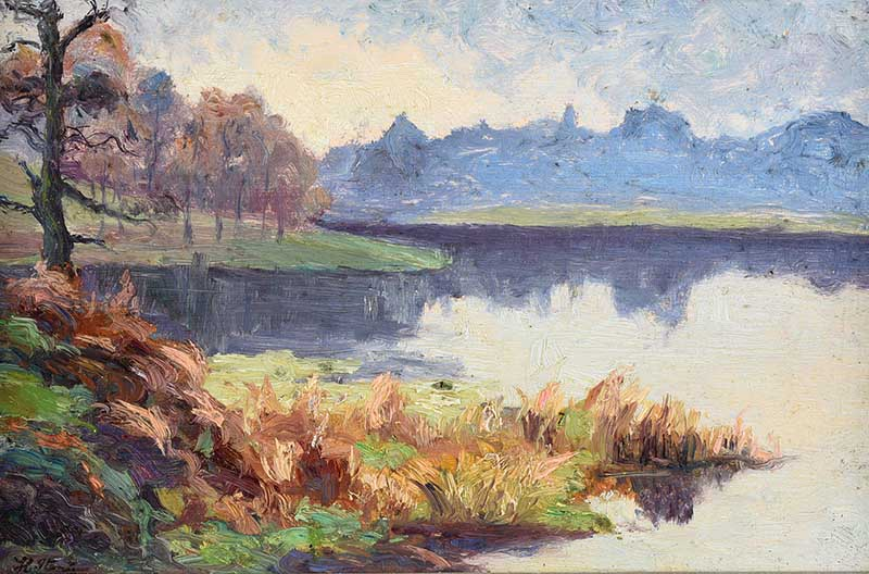 Lot 59 - Hans Iten RUA - REFLECTIONS BY THE WATER, BELVOIR PARK - Oil on Board - 6 x 9 inches - Signed