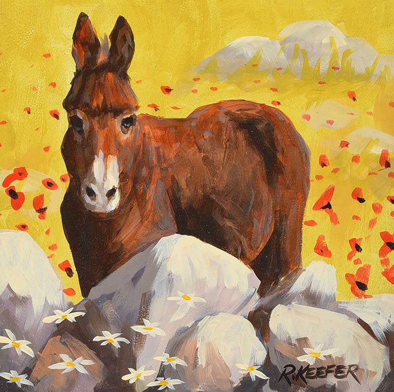 Lot 43 - Ronald Keefer - DONKEY BY THE STONE WALL - Oil on Board - 12 x 12 inches - Signed