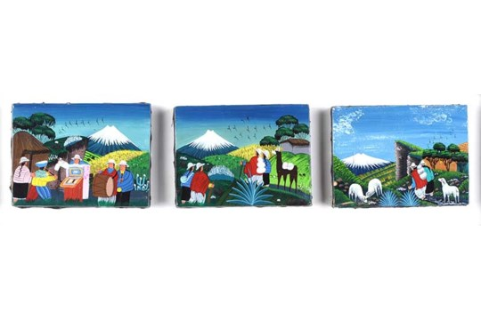 Lot 41 - Orlando Quindigalle - FOLK ART, PERU - Triptych Oil on Canvas - 3.5 x 4.5 inches - Signed Verso