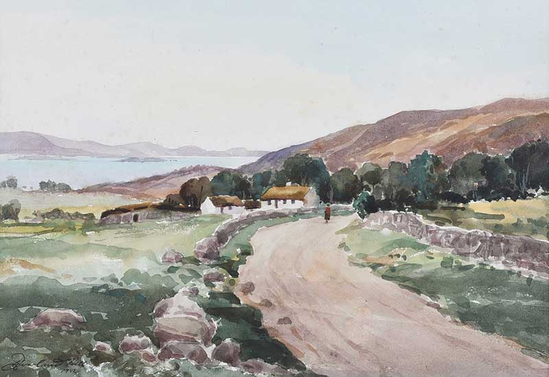 Lot 37 - Rowland Hill, RUA - ROAD BY THE LOUGH - Watercolour Drawing - 10 x 14.5 inches - Signed