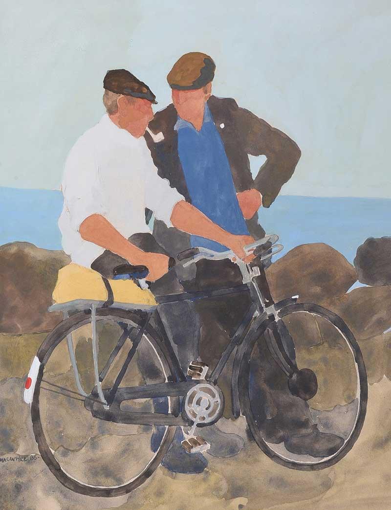 Lot 35 - James Macintyre RUA - CONVERSATION - Watercolour Drawing - 17 x 13 inches - Signed