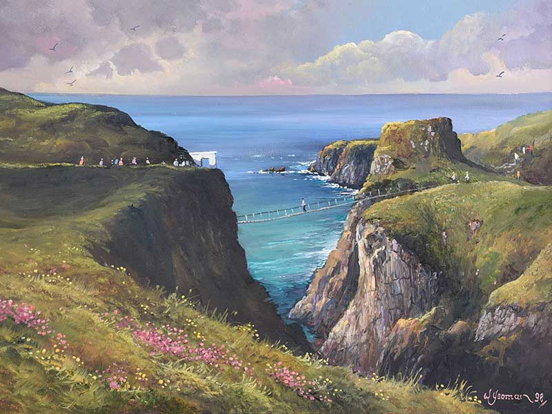Lot 40 - William Yeaman - CARRICK A REDE ROPE BRIDGE, COUNTY ANTRIM - Oil on Canvas - 18 x 24 inches -
