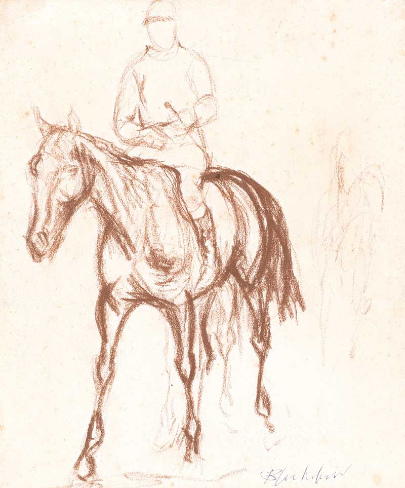 Lot 20 - Basil Blackhaw HRHA HRUA - MICHAEL O'REILLY AFTER THE POINT TO POINT - Pastel on Paper - 9 x 8