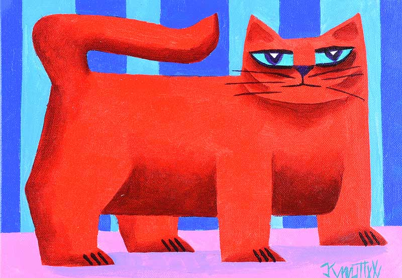 Lot 27 - Graham Knuttel - RED CAT - Oil on Canvas - 10 x 13.5 inches - Signed