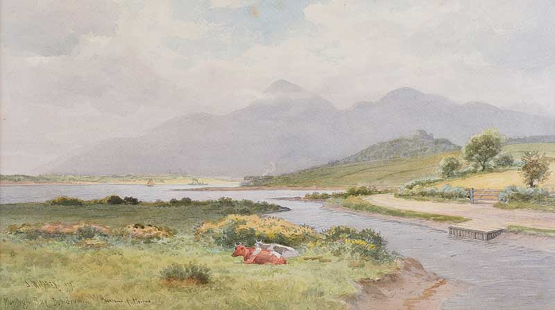 Lot 14 - Joseph William Carey RUA - MURLOUGH BAY, DUNDRUM - Watercolour Drawing - 12 x 21 inches - Signed