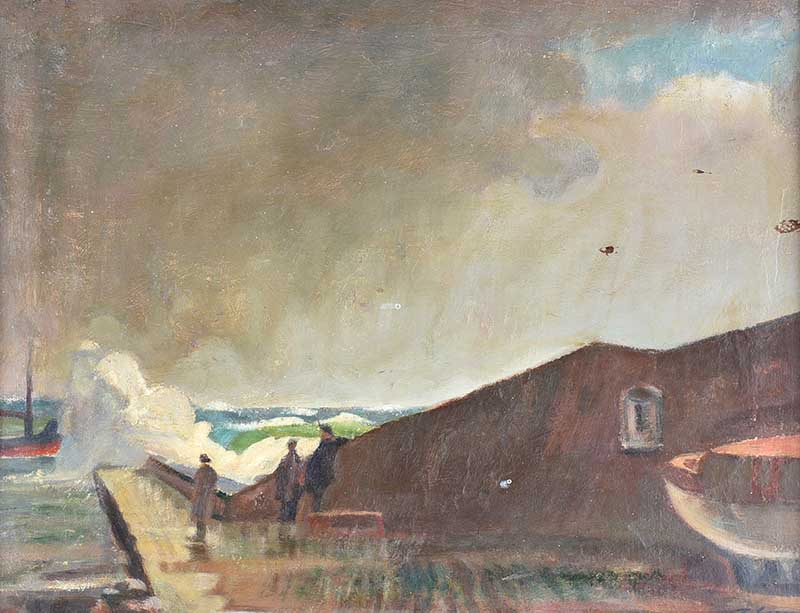 Lot 31 - Tom Carr HRHA RUA RWS - THE PIER - Oil on Canvas - 14 x 18 inches - Signed
