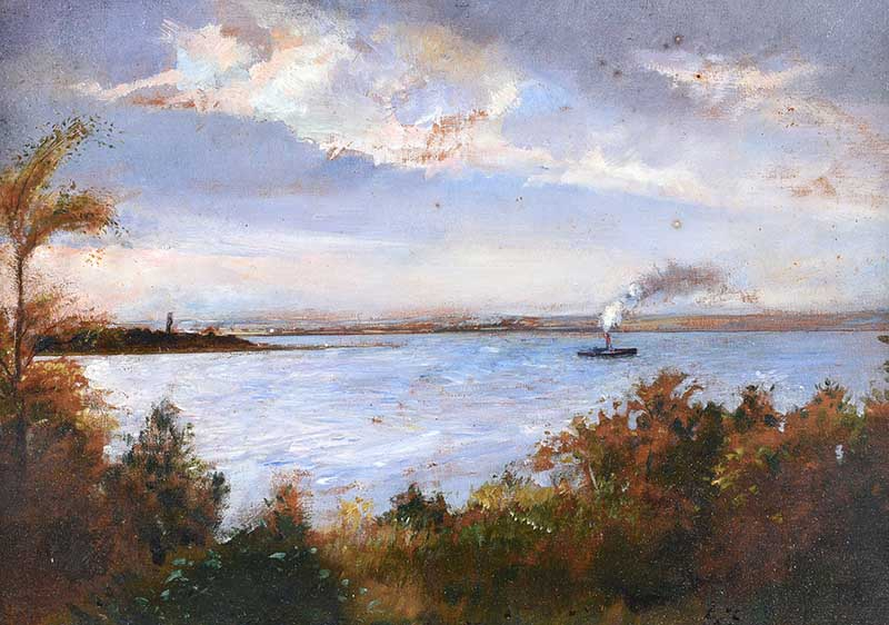 Lot 57 - Sir Robert Ponsonby Staples Bt, RBS - STEAM BOAT ON THE FOYLE - Oil on Board - 9 x 13 inches -