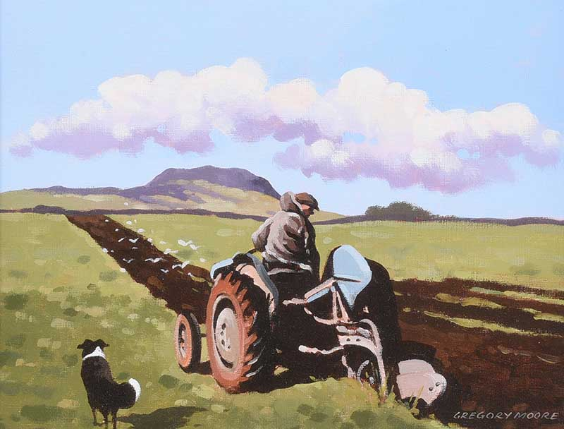 Lot 52 - Gregory Moore - PLOUGHING NEAR SLEMISH - Oil on Board - 10 x 14 inches - Signed