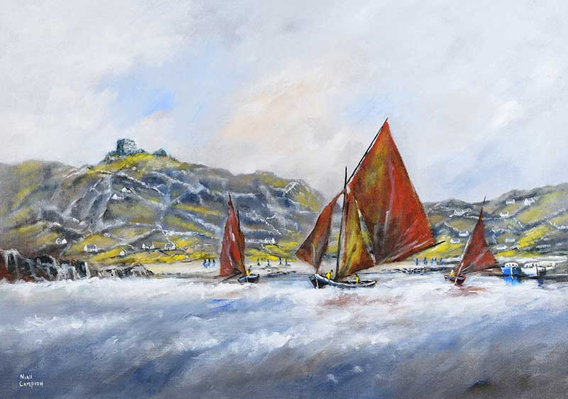 Lot 39 - Niall Campion - GALWAY HOOKERS AT INNISHEER, COUNTY GALWAY - Oil on Canvas - 20 x 28 inches -