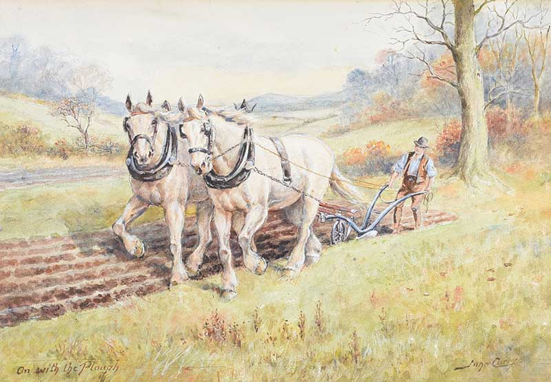 Lot 29 - John Carey - ON WITH THE PLOUGH - Watercolour Drawing - 10 x 14 inches - Signed