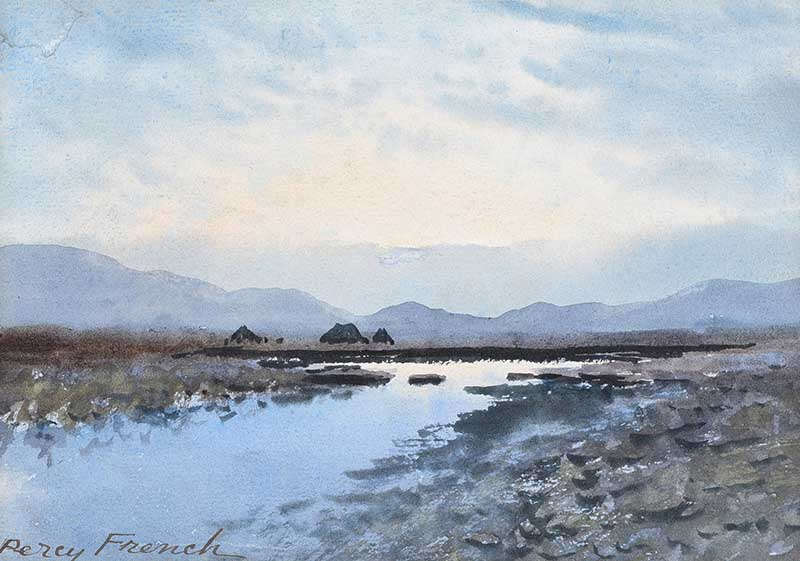 Lot 4 - William Percy French - RIVER, TURF STACKS & BOGLANDS, CONNEMARA - Watercolour Drawing - 6.5 x 9