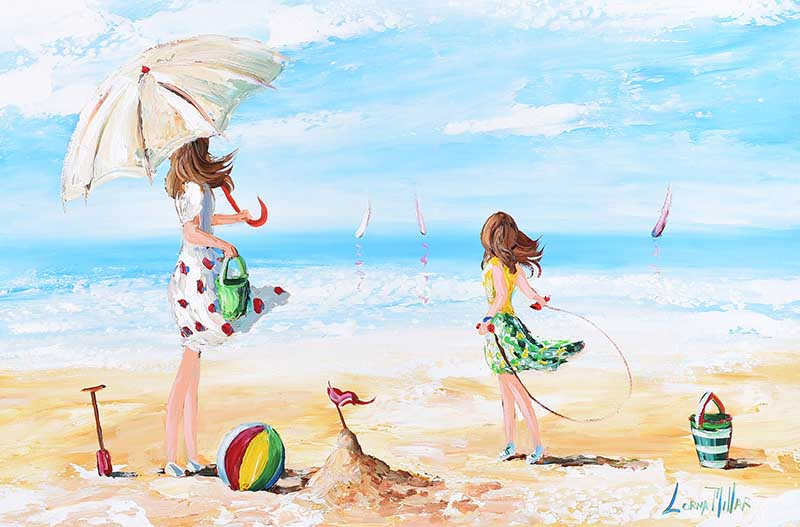 Lot 48 - Lorna Millar - FUN AT THE BEACH - Oil on Board - 20 x 30 inches - Signed