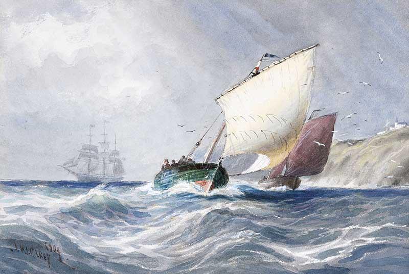 Lot 10 - Joseph William Carey, RUA - SAILING OFF WHITEHEAD - Watercolour Drrawing - 7 x 10 inches - Signed