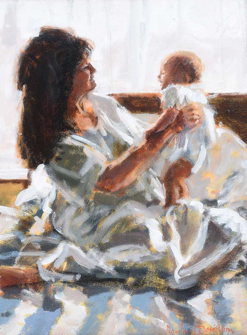 Lot 15 - Rowland Davidson - MOTHER & BABY - Acrylic on Canvas - 18 x 14 inches - Signed