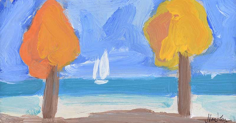 Lot 19 - Markey Robinson - SAILING CLOSE TO THE SHORE - Gouache on Board - 4.5 x 8 inches - Signed