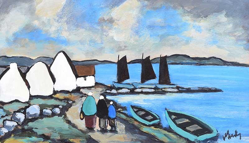 Lot 11 - Markey Robinson - VILLAGE ON THE COAST, WEST OF IRELAND - Gouache on Board - 14 x 24 inches -