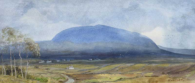 Lot 42 - Joseph William Carey RUA - SLEMISH, COUNTY ANTRIM - Watercolour Drawing - 8 x 19 inches - Signed