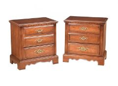 PAIR OF WALNUT TWO DRAWER BEDSIDE PEDESTALS