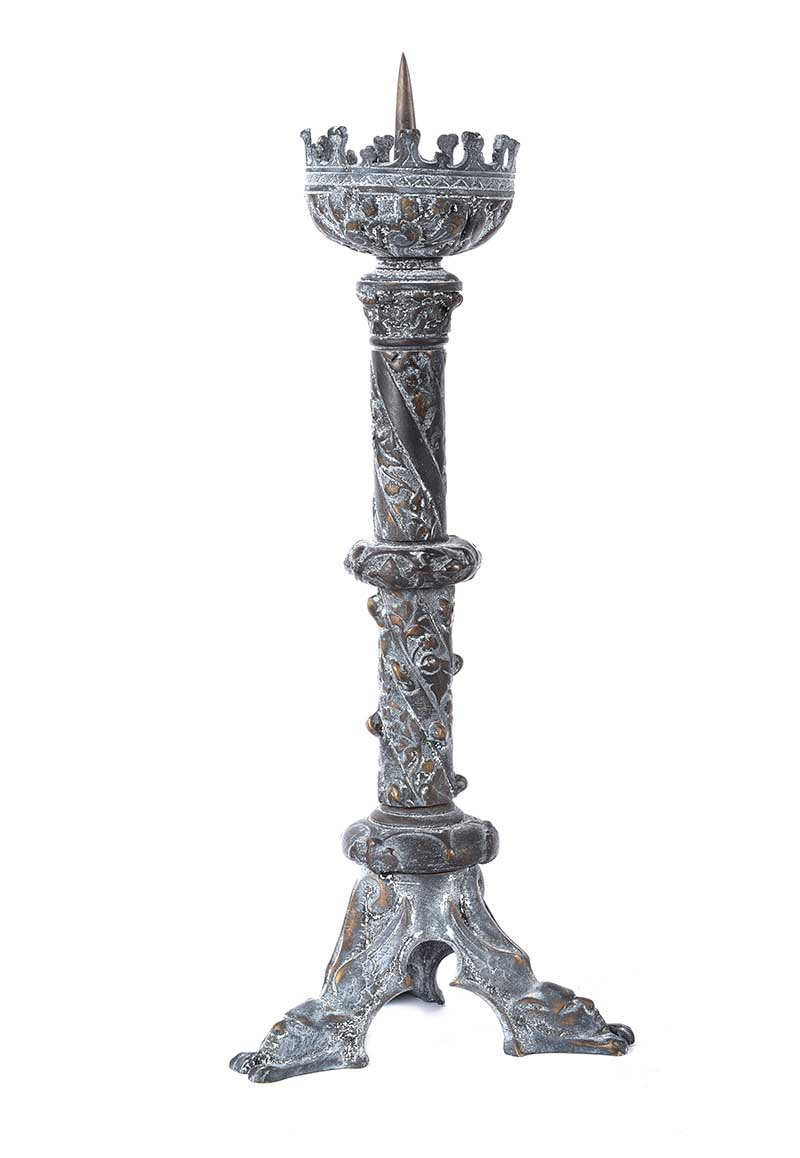 Lot 32 - PAIR OF ORNATE BRONZE CANDLESTICKS