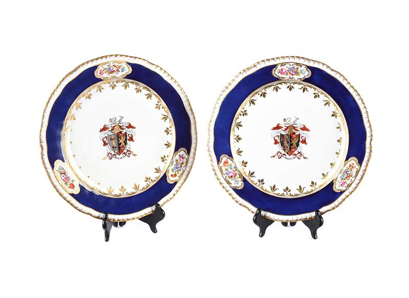 Lot 47 - PAIR OF NINETEENTH CENTURY ARMORIAL PLATES