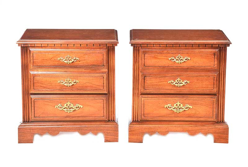 Lot 14 - PAIR OF WALNUT TWO DRAWER BEDSIDE PEDESTALS